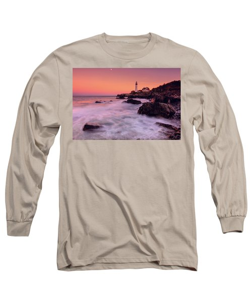 Long Sleeve T-Shirt featuring the photograph Portland Head Light In Pink  by Emmanuel Panagiotakis