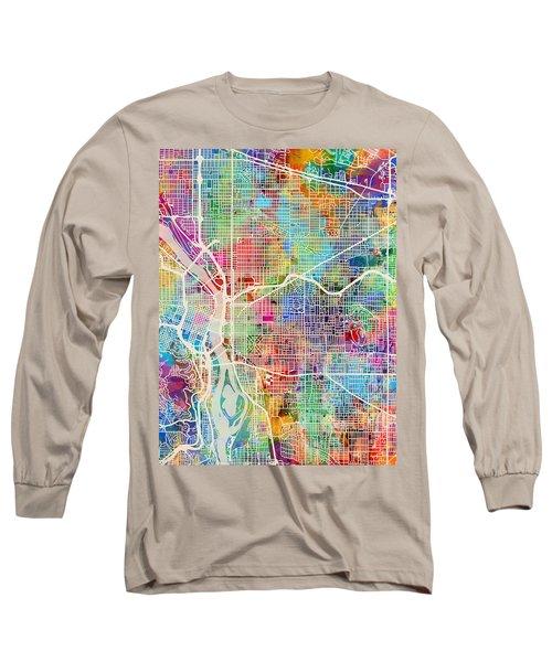 Long Sleeve T-Shirt featuring the digital art Portland Oregon City Map by Michael Tompsett