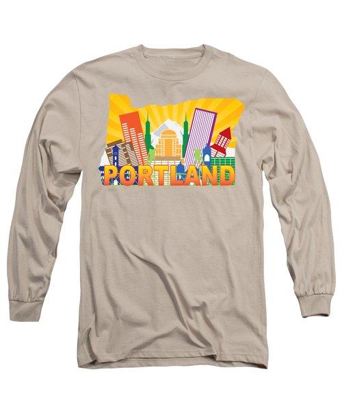 Portland Oregon Skyline In State Map Long Sleeve T-Shirt