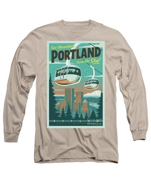 Portland Tram Retro Travel Poster Long Sleeve T-Shirt