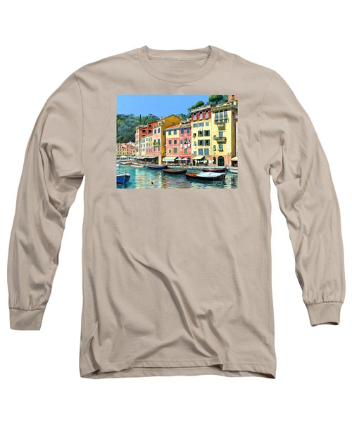 Long Sleeve T-Shirt featuring the painting Portofino Sunshine 30 X 40 by Michael Swanson