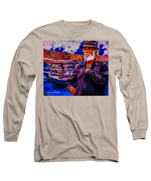 Long Sleeve T-Shirt featuring the painting Portrait Of A Fisherman by Ted Azriel