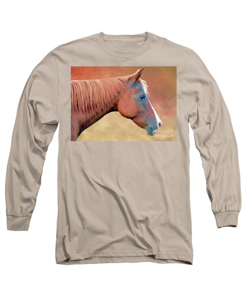 Portrait Of A Horse Long Sleeve T-Shirt by Marion Johnson