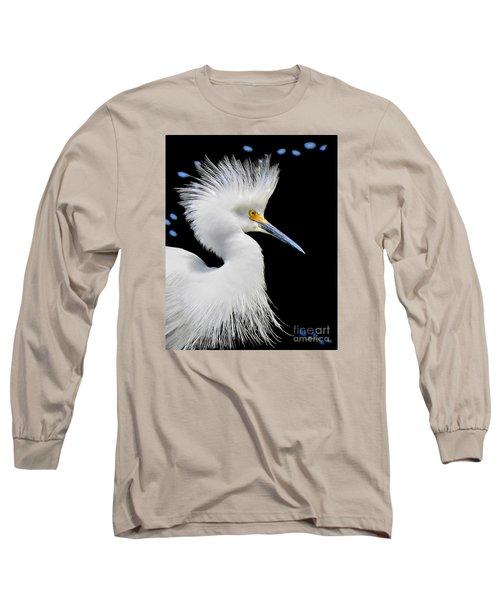 Portrait Of A Snowy White Egret Long Sleeve T-Shirt by Jennie Breeze