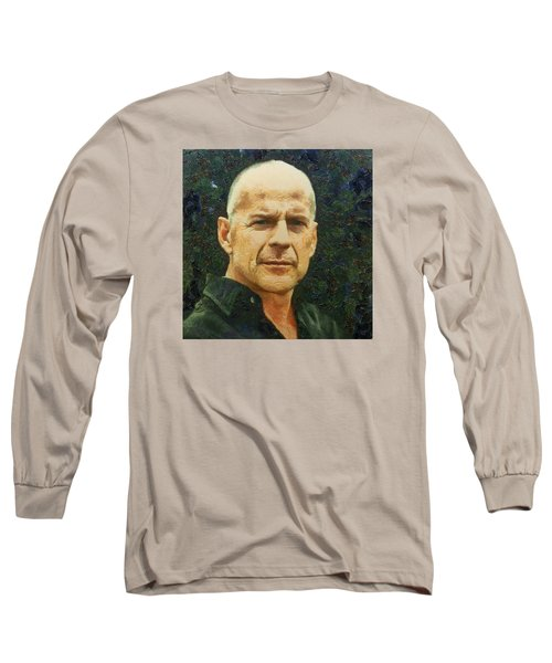 Portrait Of Bruce Willis Long Sleeve T-Shirt by Charmaine Zoe