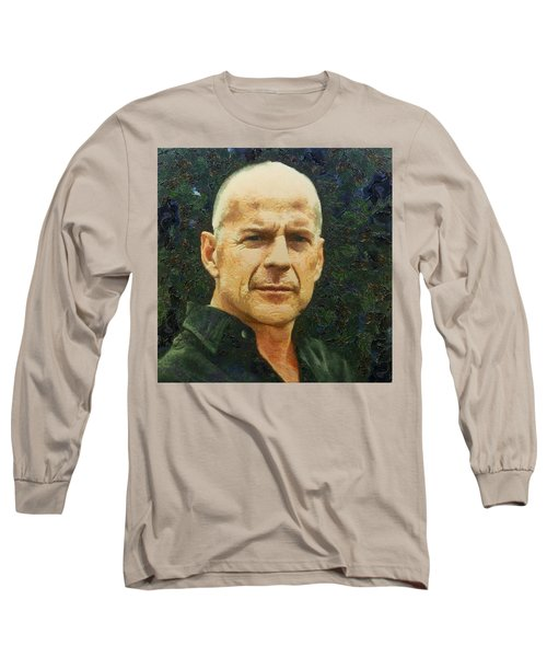 Portrait Of Bruce Willis Long Sleeve T-Shirt