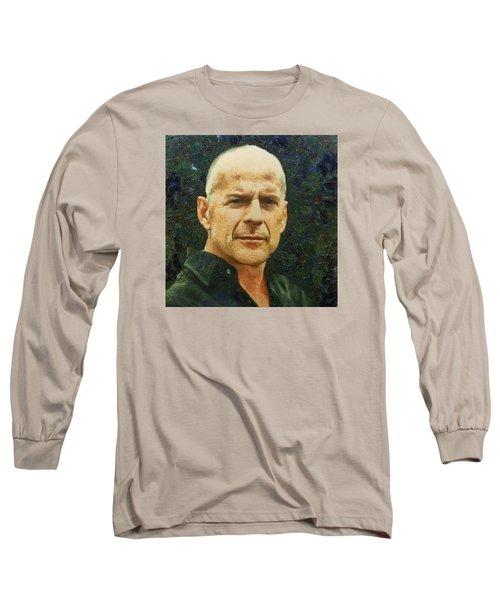 Portrait Of Bruce Willis Long Sleeve T-Shirt