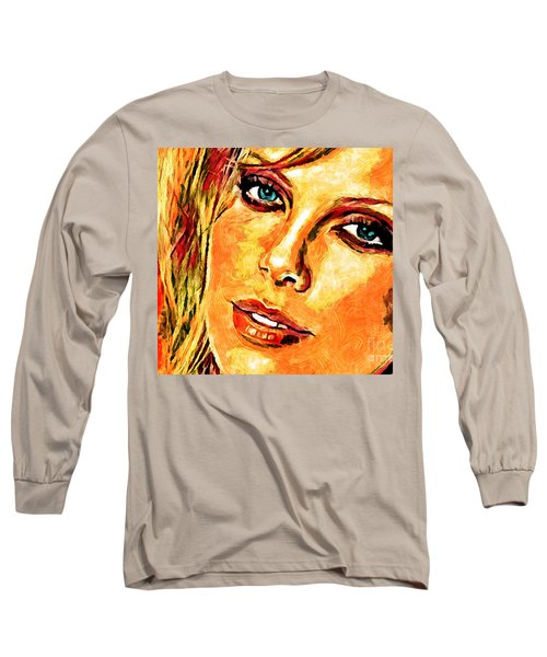 Portrait Of Charlize Theron Long Sleeve T-Shirt