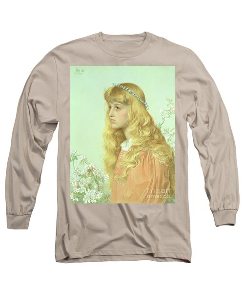 Portrait Of Miss Adele Donaldson, 1897 Long Sleeve T-Shirt by Anthony Frederick Augustus Sandys
