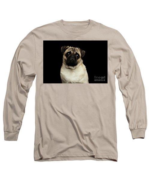 Portrait Of Pug Long Sleeve T-Shirt by Sergey Taran