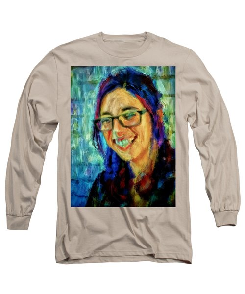 Portrait Painting In Acrylic Paint Of A Young Fresh Girl With Colorful Hair In A Library With Books  Long Sleeve T-Shirt