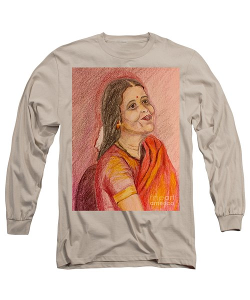 Portrait With Colorpencils Long Sleeve T-Shirt