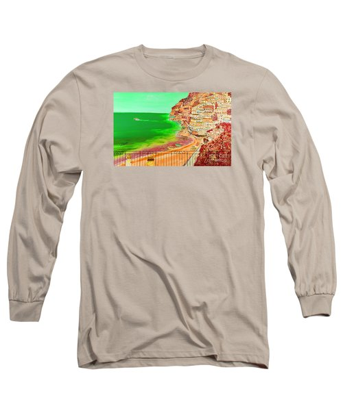 Long Sleeve T-Shirt featuring the painting Positano Bay by Loredana Messina