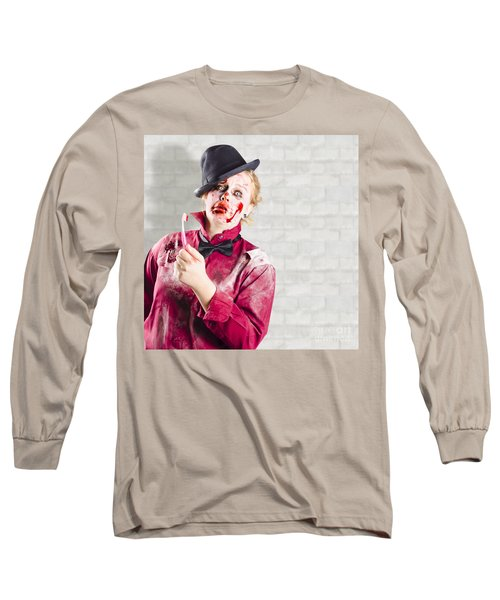 Possessed Girl With Bloody Toothbrush. Gum Disease Long Sleeve T-Shirt
