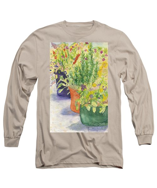 Long Sleeve T-Shirt featuring the painting Potted Beauties  by Vicki  Housel