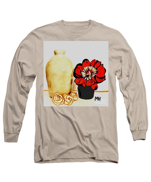Long Sleeve T-Shirt featuring the painting Pottery Peony Roses by Marsha Heiken