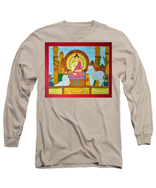 Long Sleeve T-Shirt featuring the painting Power Of Meditation by Bliss Of Art