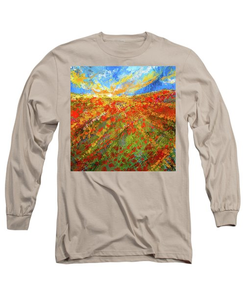Prairie Sunrise - Poppies Art Long Sleeve T-Shirt
