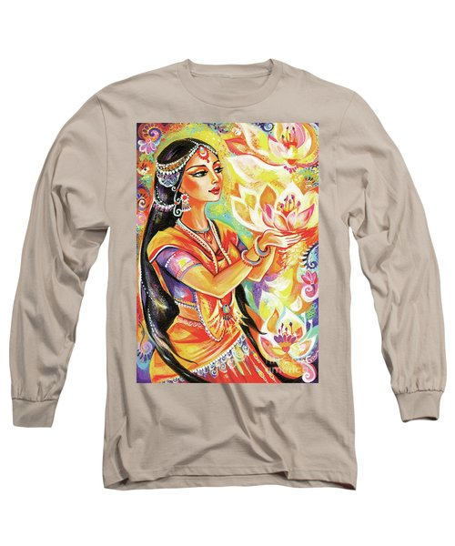 Pray Of The Lotus River Long Sleeve T-Shirt by Eva Campbell