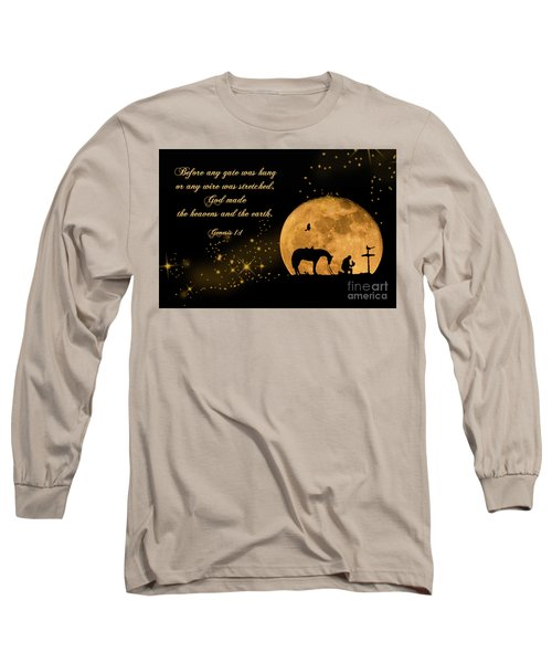 Prayer Of A Cowboy Long Sleeve T-Shirt by Bonnie Barry