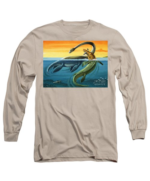 Prehistoric Creatures In The Ocean Long Sleeve T-Shirt by English School