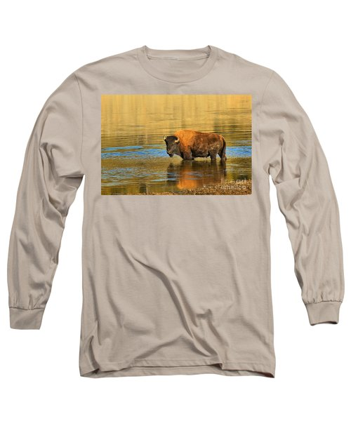 Long Sleeve T-Shirt featuring the photograph Preparing To Swim The Yellowstone by Adam Jewell