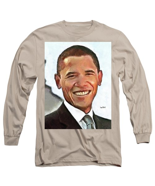President Barack Obama Long Sleeve T-Shirt by Wayne Pascall