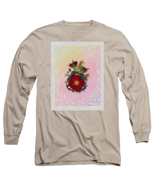 Pressed Flowers Arrangement With Red Roses Long Sleeve T-Shirt