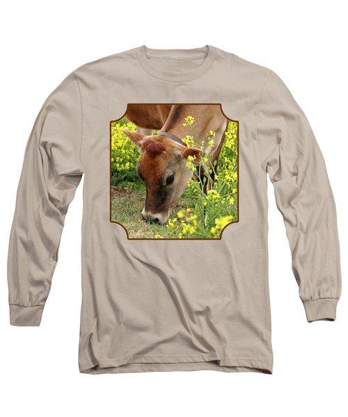 Pretty Jersey Cow - Vertical Long Sleeve T-Shirt by Gill Billington