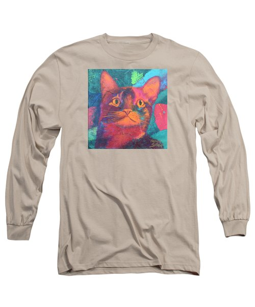 Long Sleeve T-Shirt featuring the painting Pretty Kitty by Nancy Jolley