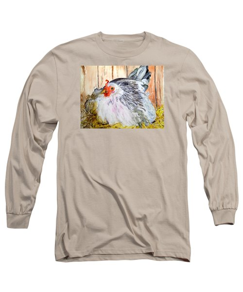 Long Sleeve T-Shirt featuring the painting Pretty Little Chicken by Carol Grimes