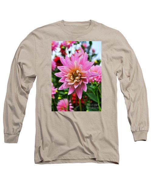 Pretty Pink Dahlia  Long Sleeve T-Shirt by Mindy Bench
