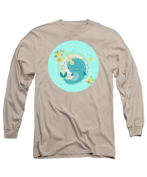 Pretty Princess Narwhal Long Sleeve T-Shirt