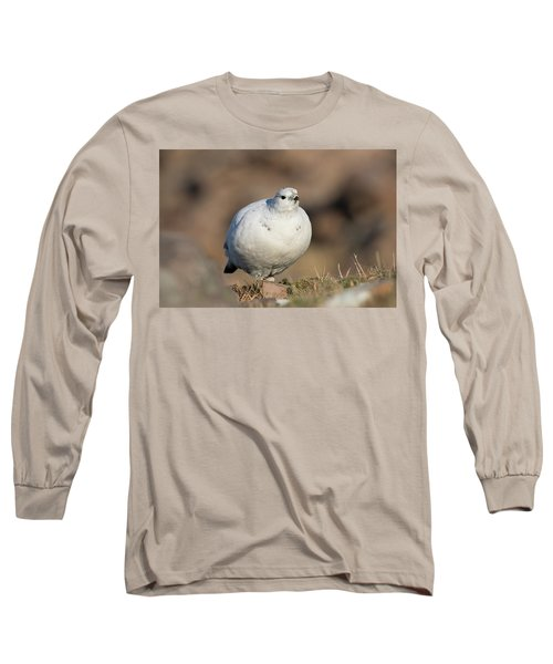 Long Sleeve T-Shirt featuring the photograph Ptarmigan Going For A Stroll by Karen Van Der Zijden
