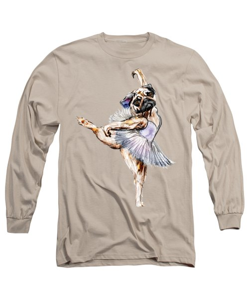 Pug Ballerina Dog Long Sleeve T-Shirt by Notsniw Art