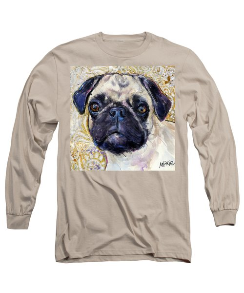 Long Sleeve T-Shirt featuring the painting Pug Mug by Molly Poole