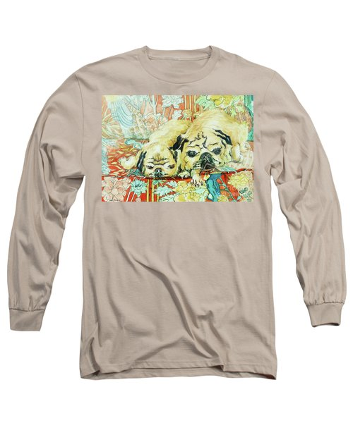 Pugs On A Chinese Print Sofa Long Sleeve T-Shirt