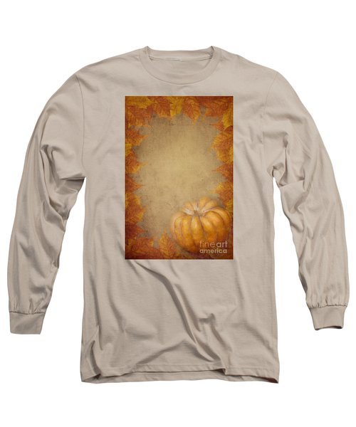 Pumpkin And Maple Leaves Long Sleeve T-Shirt