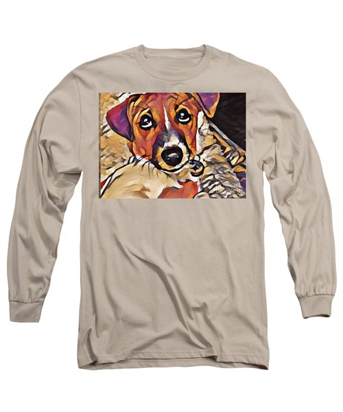 Puppy Eyes Long Sleeve T-Shirt by Holly Martinson