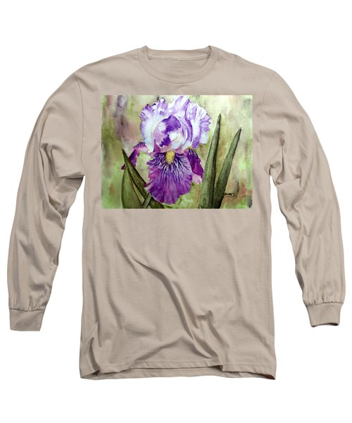 Long Sleeve T-Shirt featuring the painting Purple Beauty by Carol Grimes