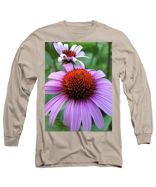 Purple Coneflowers Long Sleeve T-Shirt by Rebecca Overton