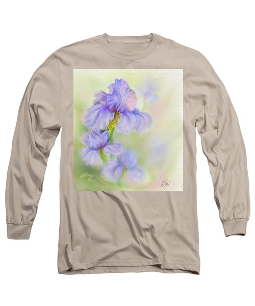 Long Sleeve T-Shirt featuring the painting Purple Iris by Bonnie Willis