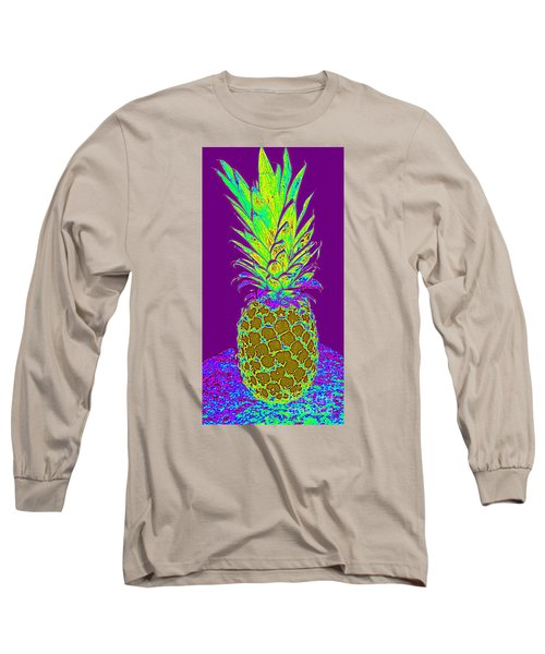 Long Sleeve T-Shirt featuring the digital art Purple Pineapple by Jeanne Forsythe