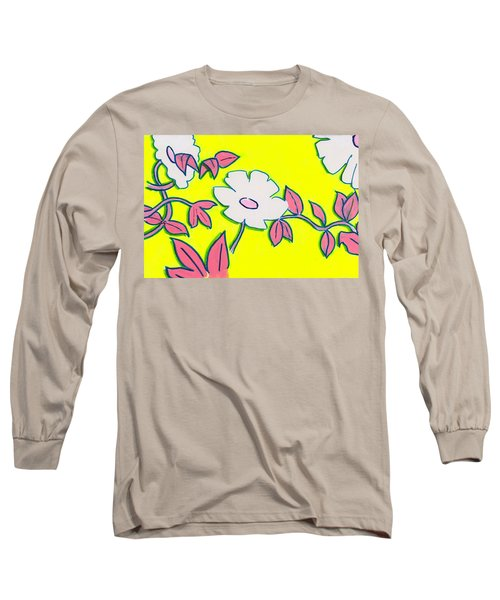 Purple Pointed Petals And Bright White Flowers Against Yellow Long Sleeve T-Shirt
