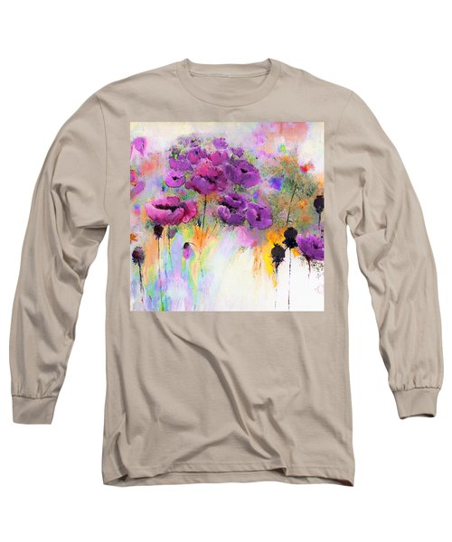 Purple Poppy Passion Painting Long Sleeve T-Shirt by Lisa Kaiser