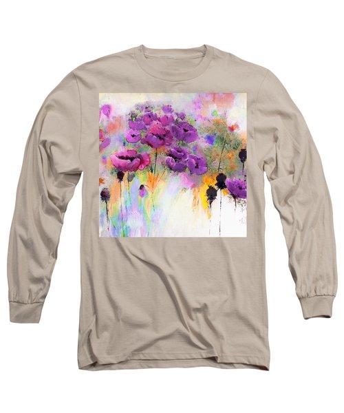 Purple Poppy Passion Painting Long Sleeve T-Shirt
