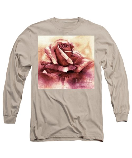 Long Sleeve T-Shirt featuring the painting Purple Rose by Sandra Phryce-Jones