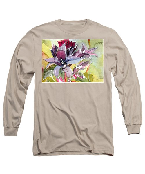 Purple Stem Aster Long Sleeve T-Shirt by Mindy Newman