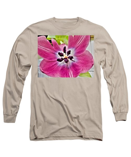 Long Sleeve T-Shirt featuring the photograph Purple Tulip by Nina Ficur Feenan