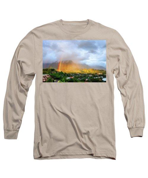 Puu Alii With Rainbow Long Sleeve T-Shirt